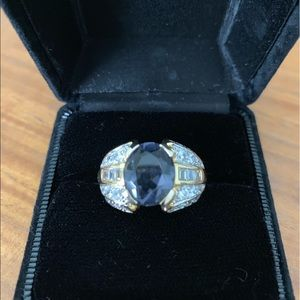 Technibond Iolite And CZ gold over silver ring 10